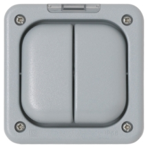 MK Masterseal K56233GRY 2 Gang DP RCD Protected Switched Socket IP56 13A 30mA Passive In Grey