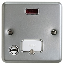 MK Metalclad K986ALM Unswitched Connection Unit c/w Neon & Flex Outlet 13A
