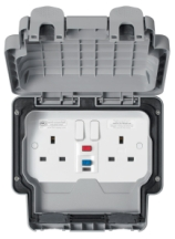 MK Masterseal K56231GRY 2 Gang DP RCD Protected Switched Socket IP56 13A 30mA Active In Grey