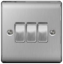 BG NBS43 Plate Switch 3 Gang 2 Way 10AX