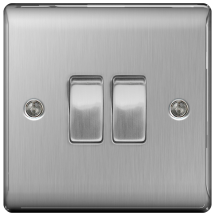 BG NBS42 Plate Switch 2 Gang 2 Way 10AX