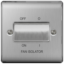 BG NBS15 Plate Switch TP Fan Isol 10AX