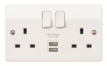 MK Logic Plus K2744WHI Socket 2 Gang Switched Double Pole USB 2A 5V