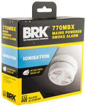 Mains Powered Ionisation Smoke Alarm with Alkaline Back-up Battery BRK 770MBX