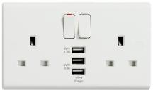 Deta S1299 2 Gang Switched Socket c/w 3 USB Ports