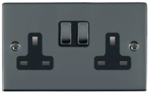 Hamilton Sheer Black Nickel 2G 13A DP Switched Socket with Black Nickel Inserts and Black Surround