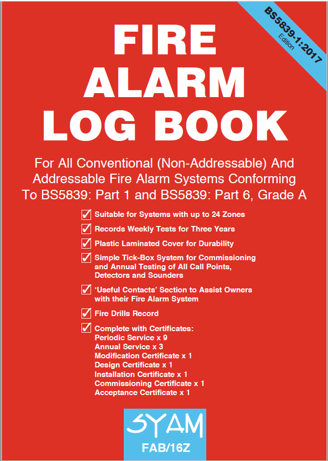 SYAM FAB/16Z Fire Alarm Log Book A4