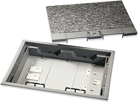 Newlec nlfb1n floor box 3 compartment c w accessory for 1 compartment floor box