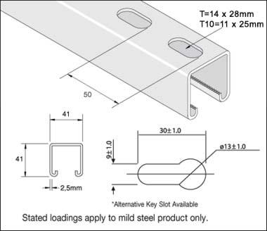 Unistrut P1000tx6pg Channel Slotted Single 41x41x2