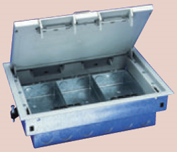Sector sgr03g floor box 3 compartment cavity grey for 1 compartment floor box