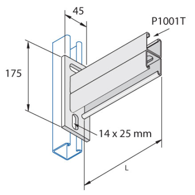 Unistrut P2665/900H : Cantilever Arm, for P1001 Back to Back